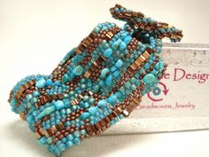 Thinking About New Mexico Turquoise Sculptural Freeform Beadwoven Cuff Bracelet. $69.00, via Etsy.
