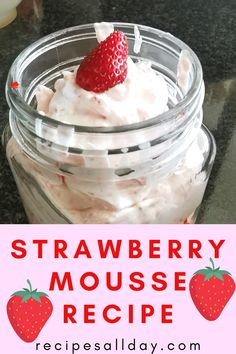 Easy, quick, and delicious strawberry mousse recipe. This fruity mousse is absolutely stunning and makes for a great dessert. The whole family will enjoy this sweet treat. This recipe shows you how to make this easy dessert step by step. Strawberry Mousse, Strawberry Shortcake Recipes, Strawberry Recipes, Great Desserts, Dessert Recipes, Easy Pudding Recipes, Healthy Bedtime Snacks, Fresh Fruit Cake, Mousse Dessert