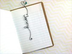 Personalized Bookmark with Heart and Bead, Personalized Wire Bookmark with Heart @etsy
