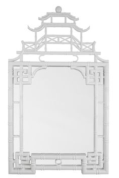 white lacquer Pagoda mirror finished in white gloss. Find it for sale through this link. #white #mirror #lacquer #chinoiserie #homedecor #interiordesign #freeshipping #pagoda #oriental