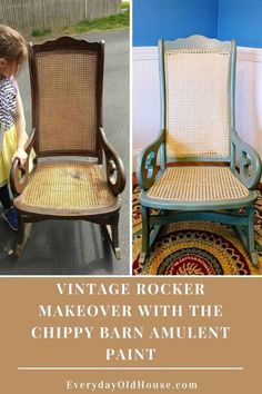 Vintage rocking chair makeover with a fresh coat of The Chippy Barn Amulent Paint and new pressed cane chair and seat @thechippybarn Vintage Rocking Chair, Wicker Rocking Chair, Vintage Chairs, Easy Diy Crafts, Easy Diy Projects, Rocking Chair Makeover, Antique Furniture Restoration, Old Wicker, Patio Side Table