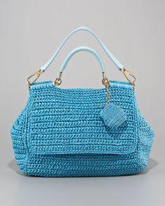 Dolce & Gabbana. Miss Sicily Raffia Crochet Handbag.