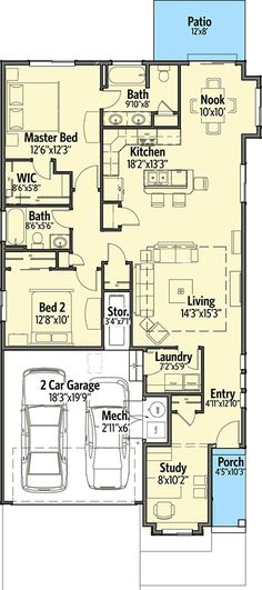 Narrow Lot Craftsman with 2 Beds - 64411SC | Cottage, Craftsman, Northwest, Narrow Lot, 1st Floor Master Suite, CAD Available, Den-Office-Library-Study, PDF | Architectural Designs