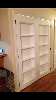 New Bookshelf Door Diy Ana White 67 Ideas Ana White, Bookshelf Closet, Bookcase Door, Bookcases, Bookcase Plans, Cheap Bookshelves, Bookshelf Diy, White Bookshelves, Door Shelves