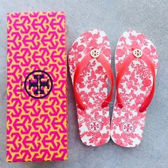 {Tory Burch} Red Floral Flip-flops Brand new in box, never been worn. Please familiar/know your own Tory Burch sizing, these don't come in half size. ❗️Price is firm, even when bundled ❗️   ❌ No Trades/ No PayPal  ❌ No Lowballing  ✅ Bundle Discounts ✅ Ship Same or Next Day  % Authentic Tory Burch Shoes Sandals