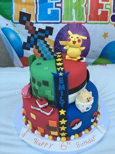 I made a half Pokemon and half minecraft cake today!