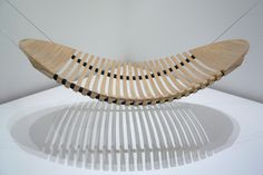 Adam Cornish's Wood Hammock Wins Herman Miller Design Competition- Adam Cornish's Wood Hammock Wins Herman Miller Design Competition Wood Hammock by Adam Cornich - Fire Pit Table And Chairs, Black Dining Room Chairs, White Chairs, Home Decor Furniture, Furniture Design, Bamboo Furniture, Woodworking Items That Sell, Stock Design, Wooden Hammock