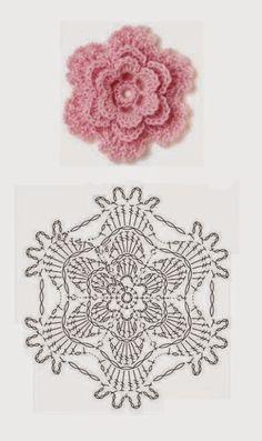 Crochet Rose: ~ love it!DIY Crochet Flower Diagram DIY Crochet Flower Diagram by diyforeverPink crochet flower with lacy edgeLace Flower ☀CQ by Maison BeauvilainLace Flower CQ Thank you for sharing!Pink little rose crochet häkeln flower flowers bl Beau Crochet, Crochet Diy, Crochet Motifs, Crochet Diagram, Crochet Chart, Crochet Doilies, Crochet Stitches, Irish Crochet, Crochet Borders