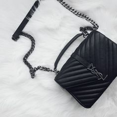 YSL Classic Medium Monogram Saint Laurent College Bag. Celebrity Street Styles #YSL #Handbag.