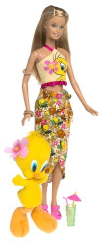 Barbie Year 2003 Looney Tunes Back in Action Series 12 Inch Doll Set - Barbie Loves Tweety Piolin Piu-Piu with Barbie Doll in Beach Outfit Holding a Cocktail Glass Plus Tweety Character 5 Inch Plush Barbie http://www.amazon.com/dp/B00009OX05/ref=cm_sw_r_pi_dp_tKp0tb0KY42QA28J