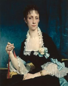 """Jules Delaunay: """"Madame Raoul-Alfred Philippe, née Lucie Ingle"""", 1877, oil on canvas, Dimensions: H. 81, L. 65, Musée des beaux-arts de Nantes."""