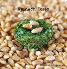 Brilliant green fresh and clean tasting Spinach Bites get a salty kick from Parmesan and a sweet finish from toasted pine nuts. Vegetarian Cheese, Vegetarian Recipes, Healthy Recipes, Appetizers For Party, Appetizer Recipes, Party Recipes, Parmesan, Little Lunch, Sunday Suppers