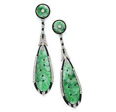 A Pair of Art Deco Jade, Onyx and Diamond Ear Pendants, circa 1925 - FD Gallery