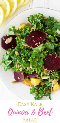 The Kale, Quinoa and Beet Salad is simple, flavorful and full of plant based protein! Great for a healthy summer dish, or for a healthy lunch for the Clean Program's Clean Cleanse by Dr. Junger!