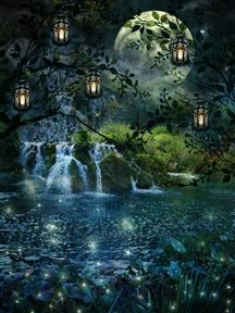 Enchanted Forest-What a beautiful place to go to in the evening to watch the fire flys light up, listen to the music of the water as it dances across the rocks, dance in the light of the moon as it casts it beauty through the branches of a quiet meadow. World Of Fantasy, Fantasy Places, Fantasy Art, Fantasy Landscape, Fairy Art, Magical Creatures, Illustrations, Faeries, Mystic