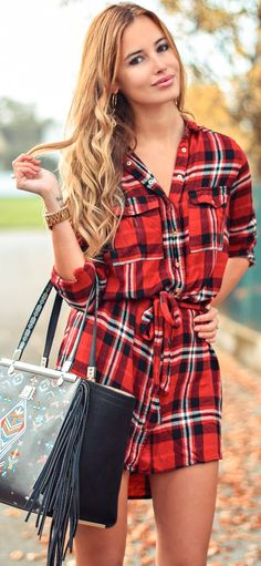 Tartan Plaid Shirtdress Fall Streetstyle Inspo by The Mandarine Girl