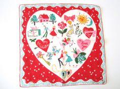 Vintage Carl Tait Valentine Hankie by NeatoKeen on Etsy, $64.00