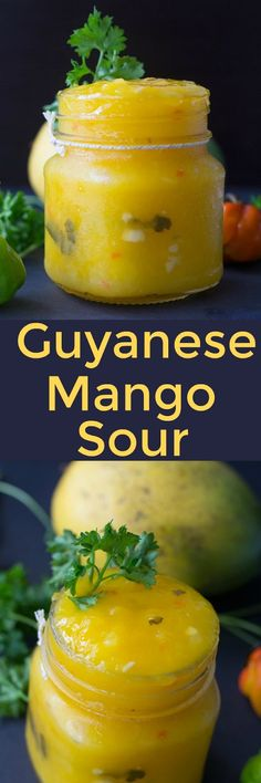 Guyanese Mango Sour - The perfect chutney sauce mixed with sour and savory, great for dipping all of your savory foods