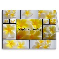 Frangipani Birthday Greeting Cards