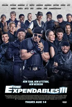 The Expendables 3 (2014) PG-13 - Stars: Sylvester Stallone, Jason Statham, Jet Li. - Barney augments his team with new blood for a personal battle: to take down Conrad Stonebanks, the Expendables co-founder and notorious arms trader who is hell bent on wiping out Barney and every single one of his associates. - ACTION / ADVENTURE / THRILLER