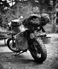 Essentials. Packing for a motorcycle trip is always a good exercise in practicing minimalism. Our Terrain Pannier carries just the essentials to get you on your way. @mr_pixelhead loaded for the journey ahead. by ironandresin