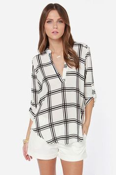 Ivory and Black Plaid Print Top