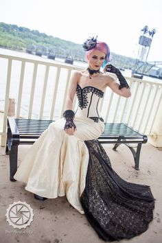 Mermaid Wedding Dress Goth Bridal Gown Unique Gothic Corset   Etsy Steampunk Couture, Steampunk Corset, Gothic Corset, Steampunk Wedding Dress, Gothic Wedding, Geek Wedding, Medieval Wedding, Rustic Wedding, Wedding Rings