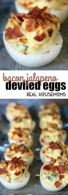Bacon Jalapeno Deviled Eggs are delicious and add a kick to the traditional spring, summer, or Easter appetizer! via @realhousemoms
