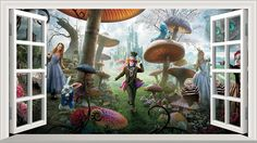 Alice au pays des merveilles image Full Colour Magic fenêtre Sticker mural Affiche de taille 1000 mm x 600 mm (L): Amazon.fr: Cuisine & Maison Wall Stickers Murals, Window Stickers, Color Magic, Deco, Alice In Wonderland, Fair Grounds, Windows, Poster, Painting