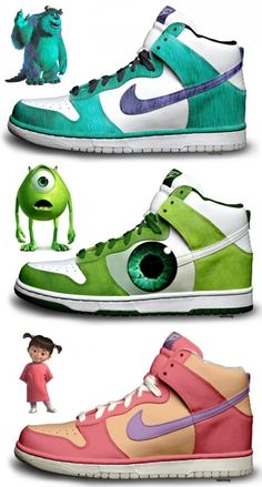 Shoes (Sneakers) - Monsters Inc.: Sulley, Mike and Boo (by kaycunana / Nike) Zapatillas Jordan Retro, Estilo Geek, Sneakers Fashion, Shoes Sneakers, Canvas Sneakers, Sneaker Art, Hype Shoes, Disney Shoes, Nike Free Shoes