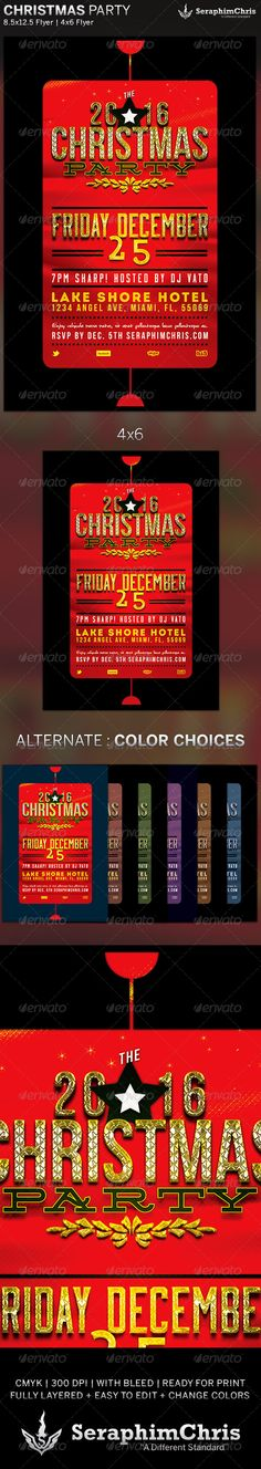 Christmas Party Holiday Flyer Template is designed for church events, parties and gatherings surrounding the Christmas season. This premium flyer design is constructed to give the highest dynamic quality when printed or posted to social media sites and other formats. This file is exclusive to graphicriver.net