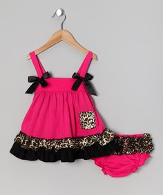 Look what I found on #zulily! Pink & Brown Leopard Dress & Diaper Cover - Infant & Toddler #zulilyfinds