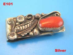 VINTAGE NATIVE AMERICAN JEWELRY STERLING SILVER CORAL NAVAJO MONEY CLIP OLD PAWN !!!!  BUY IT NOW ITEM!!!!!