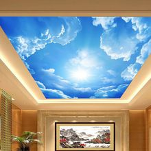 3D large hotel lobby ceiling mural wallpaper bedroom living room ceiling painting roofs white clouds in blue sky wall paper(China (Mainland))
