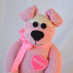 Personalized Sock Monkey DollPuppy Dog in Pink by MarysMonkeys