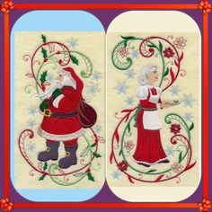 MR AND MRS CLAUS CHRISTMAS NEW SET OF 2 BATH HAND TOWELS EMBROIDERED BY LAURA #Handmade