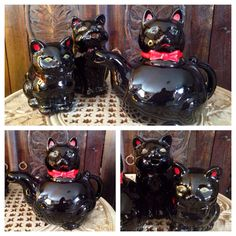 Hey, I found this really awesome Etsy listing at http://www.etsy.com/listing/170775602/vintage-1950s-redware-painted-black-cats