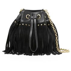 DIANE VON FURSTENBERG Disco Suede and Leather Fringe Bucket Crossbody... ($209) ❤ liked on Polyvore