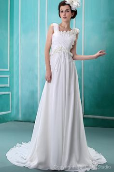 Train Floor-length Scoop Sleeveless White Chiffon Ruffles/Flowers Zipper Natural Chapel A-line Glamorous Wedding Dress