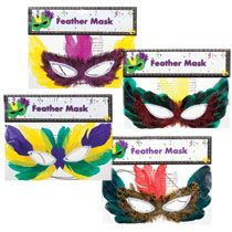 "Bulk Mardi Gras Feather Party Masks, 10�"" at DollarTree.com...I plan to hang these from my ceiling at work as a part of my Mardi Gras décor."
