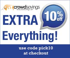 Take an EXTRA 10% OFF EVERYTHING at Crowdsavings.com all weekend long. Use code PICK10 at checkout! Start your holiday shopping early!