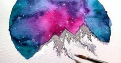 Just Pinned to Skies: Silver Colorful Mountains Watercolor Art Print by SkyesArtworks http://ift.tt/2tD5qUQ