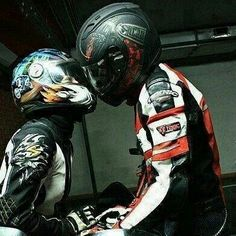 These biker couple is in love.