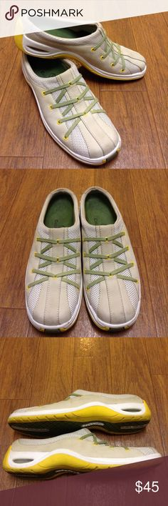 Cole Haan Nike Air slip-on sneaker Cole Haan slip on sneaker with Nike Air, light grey, green and yellow with mesh detail. Minor wear, 7 1//2 AA -narrow Cole Haan Shoes Sneakers