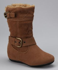 Take a look at this Camel Zip-Up Double Buckle Bobbie Boot by PINKY FOOTWEAR on #zulily today!