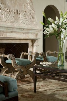 custom design and made limestone and marble fireplace mantels for luxury custom build homes in new york and california Beautiful Interiors, Beautiful Homes, French Interiors, House Beautiful, Beautiful Buildings, Light My Fire, Interiores Design, Home Accents, Living Spaces