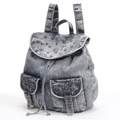 Mudd® Studded Denim Backpack ($26) found on Polyvore