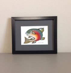 A personal favorite from my Etsy shop https://www.etsy.com/listing/208850820/rainbow-trout-watercolor-painting-framed