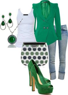 Green outfit. I like the shoes a lot, but would wear either the jacket OR the shoes so it's not too matchy-matchy.