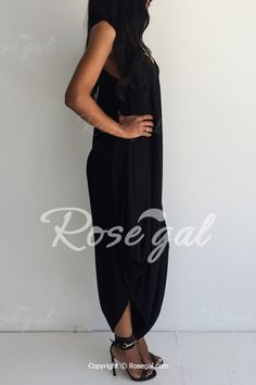 Sexy Strappy Black Loose-Fitting Jumpsuit For Women